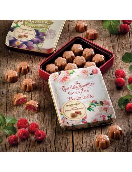 Chocolate Amatller Flores de Chocolate con Frambuesa Lata