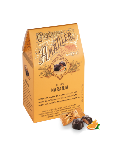 Chocolate Amatller Flores de chocolate70% & Naranja