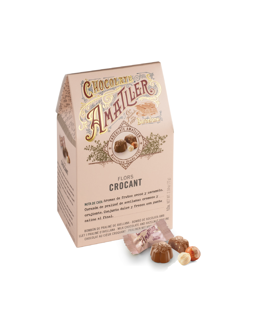 Flores de Chocolate con Leche al Crocant - Chocolate Amatller