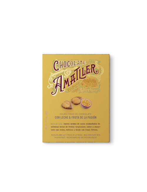 Chocolate Amatller Hojas de chocolate 32% y Maracuyá