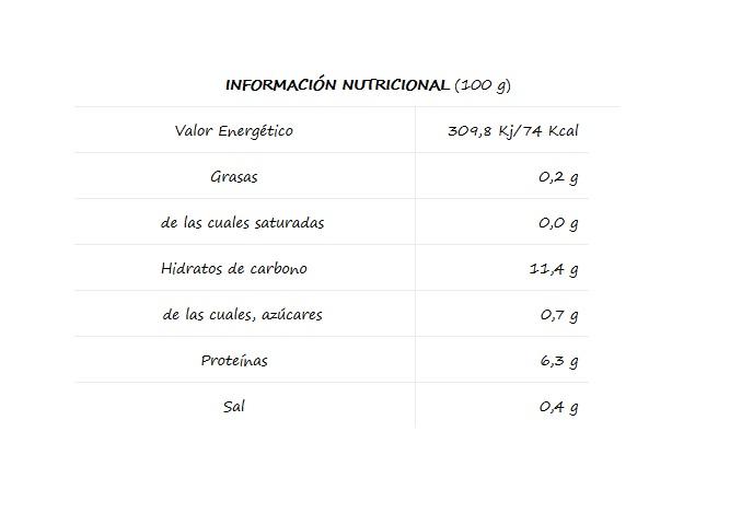 Lentejas El Navarrico información nutricional